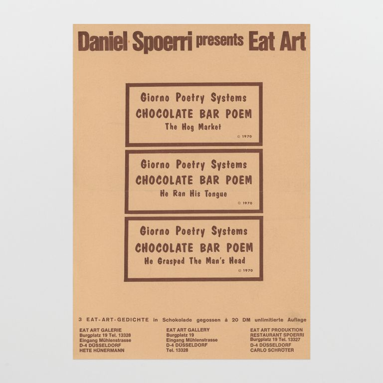 Daniel Spoerri presents Eat Art: Chocolate Bar Poem
