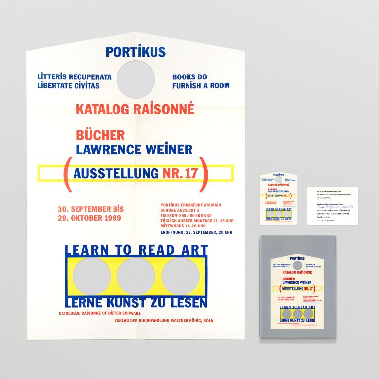 A suite of four items relating to 'Lawrence Weiner, Books 1968 – 1989: Catalog Raisonné'