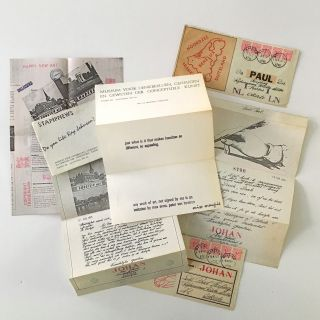 Forty-six pieces of mail art, appropriated ephemera, and documents