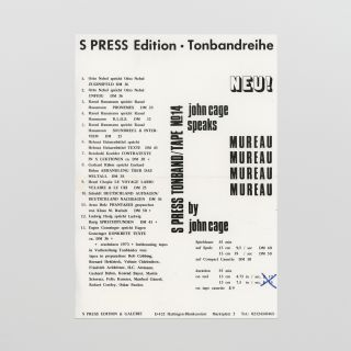 Flyer for S Press Tonband/Tape No. 14: John Cage Speaks Mureau by John Cage