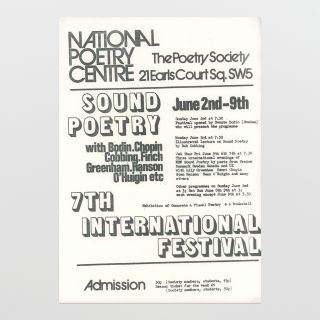 Flyer for 7th International Festival of Sound Poetry