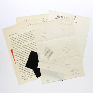 1969 letter, original music score, concrete poems, and two pieces of original artwork mailed to Sten Hanson