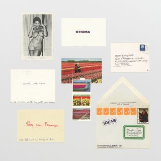 Twenty-eight pieces of mail art, appropriated ephemera, and documents